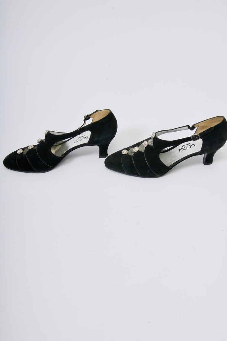 Women's Gucci Black Suede Shoes with Rhinestone Accents For Sale