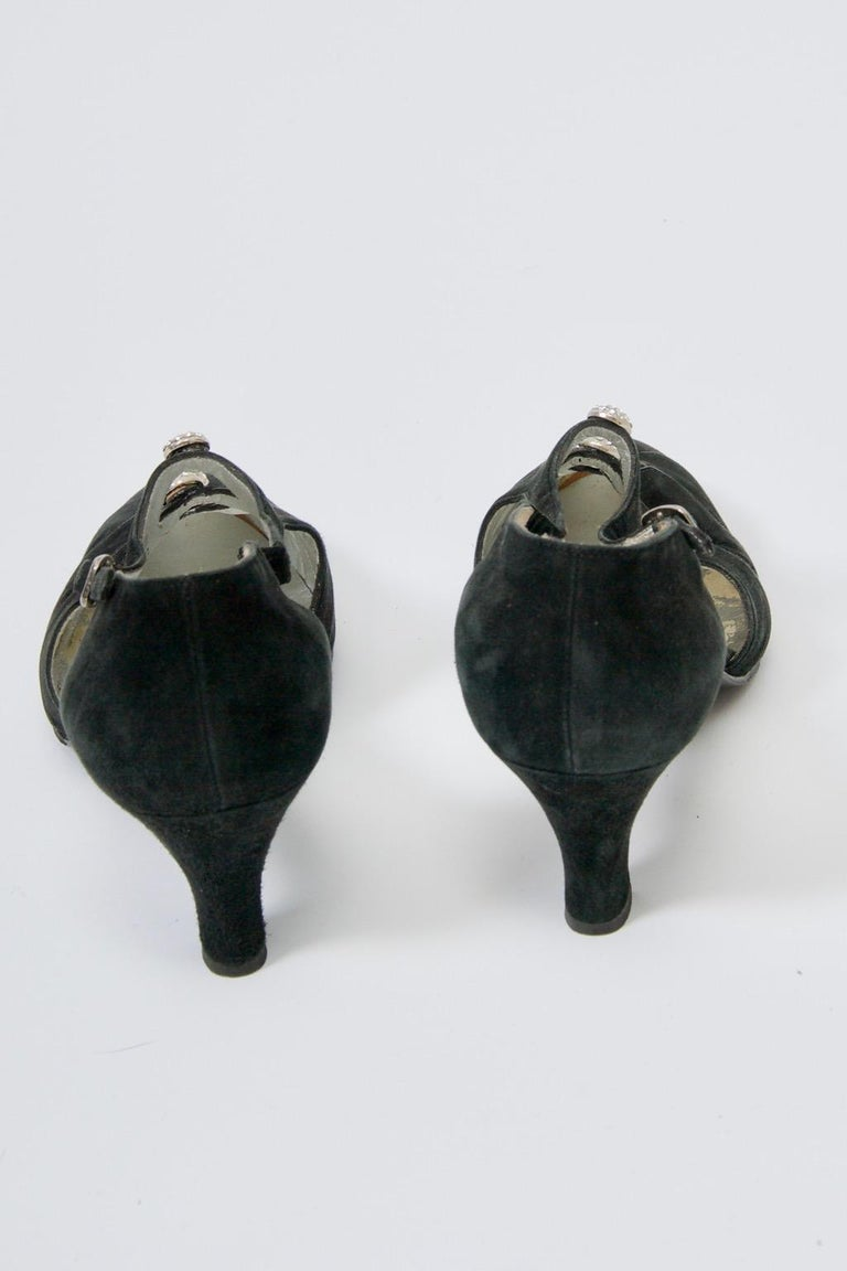 Gucci Black Suede Shoes with Rhinestone Accents For Sale 1