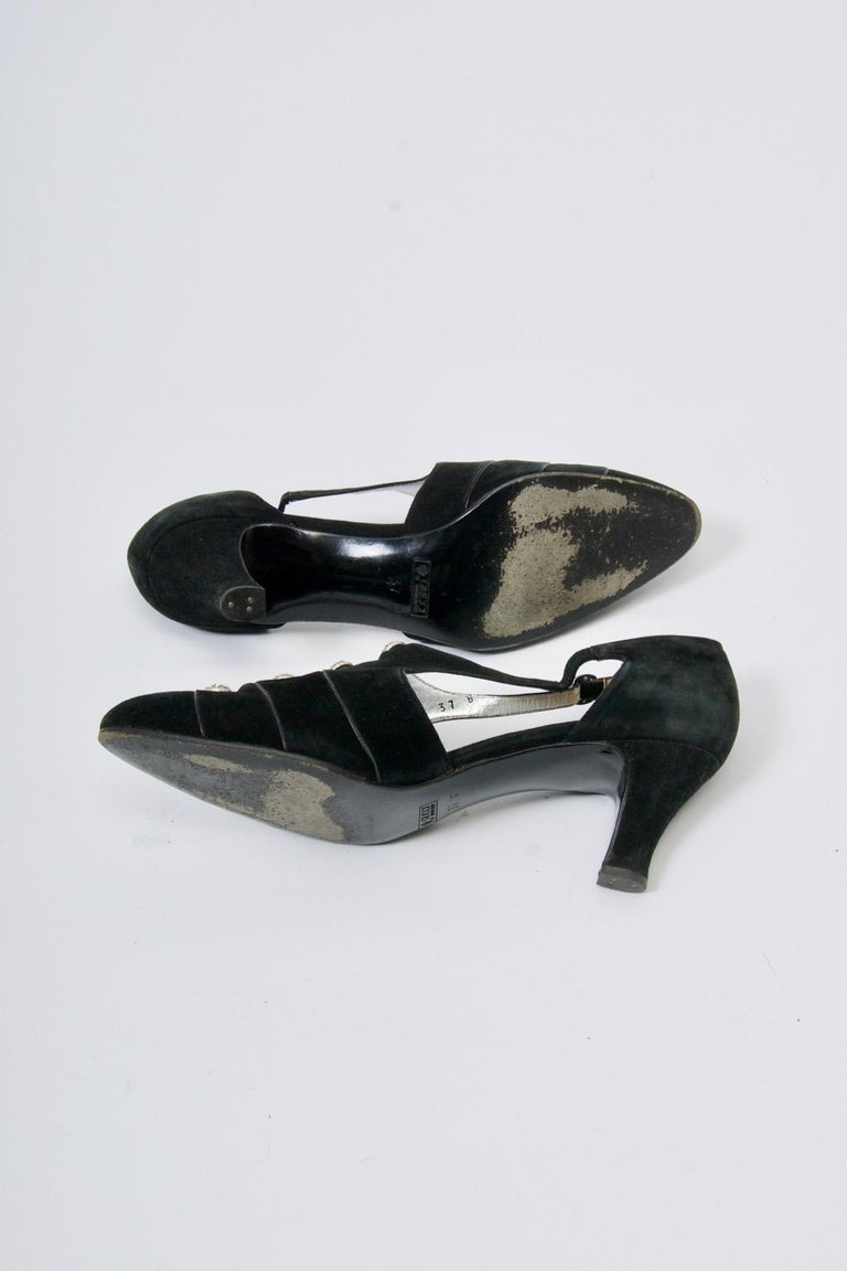 Gucci Black Suede Shoes with Rhinestone Accents For Sale 2
