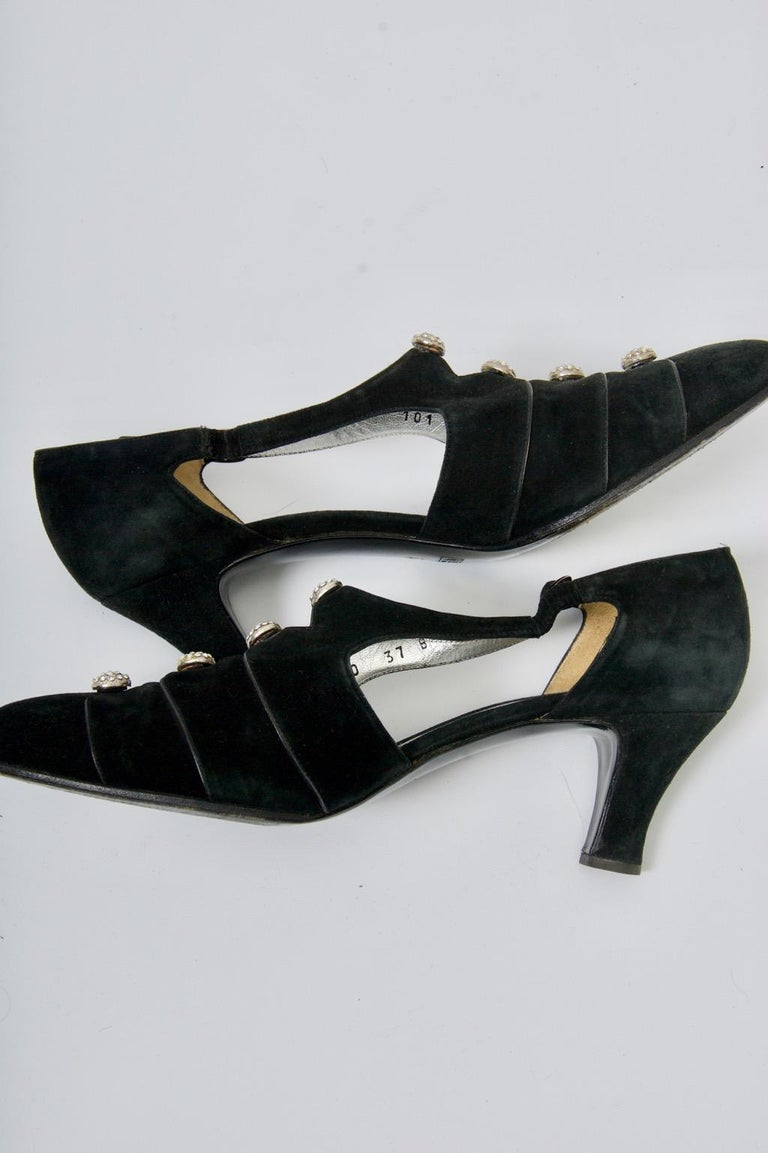 Gucci Black Suede Shoes with Rhinestone Accents For Sale 4
