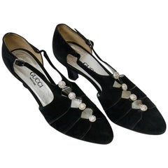 Gucci Black Suede Shoes with Rhinestone Accents