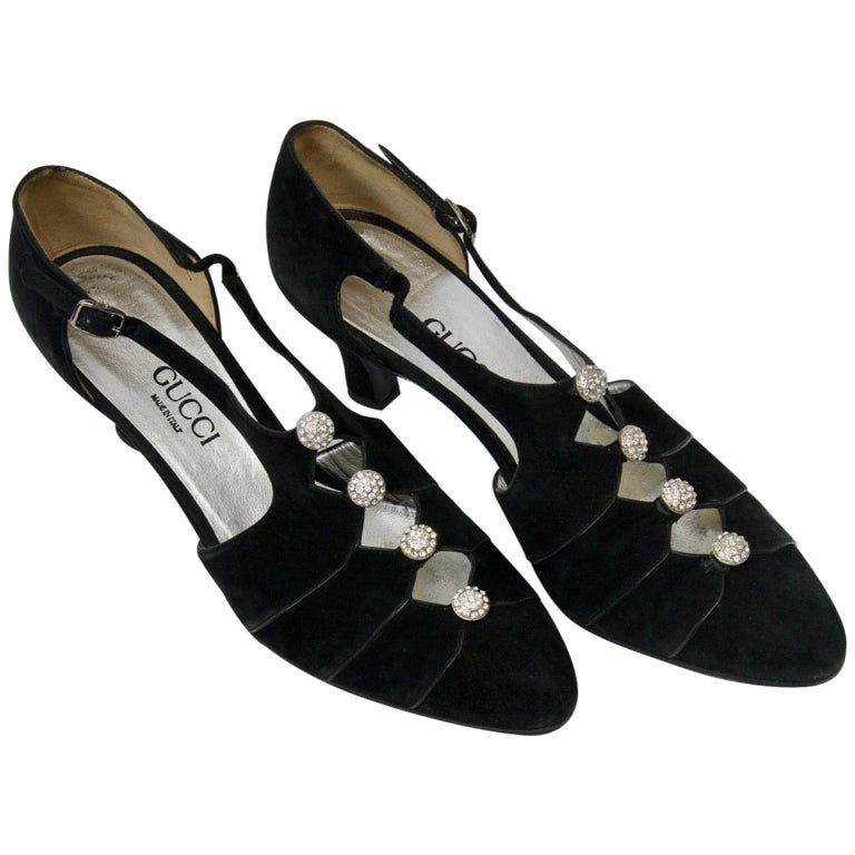 Gucci Black Suede Shoes with Rhinestone Accents For Sale
