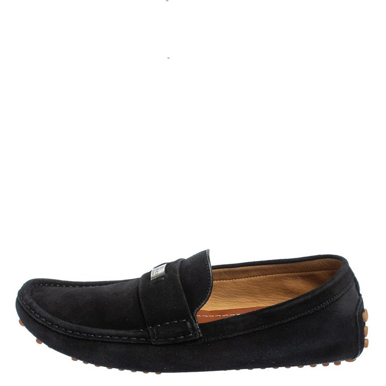 Gucci Black Suede Slip on Loafers Size 41.5 For Sale 1