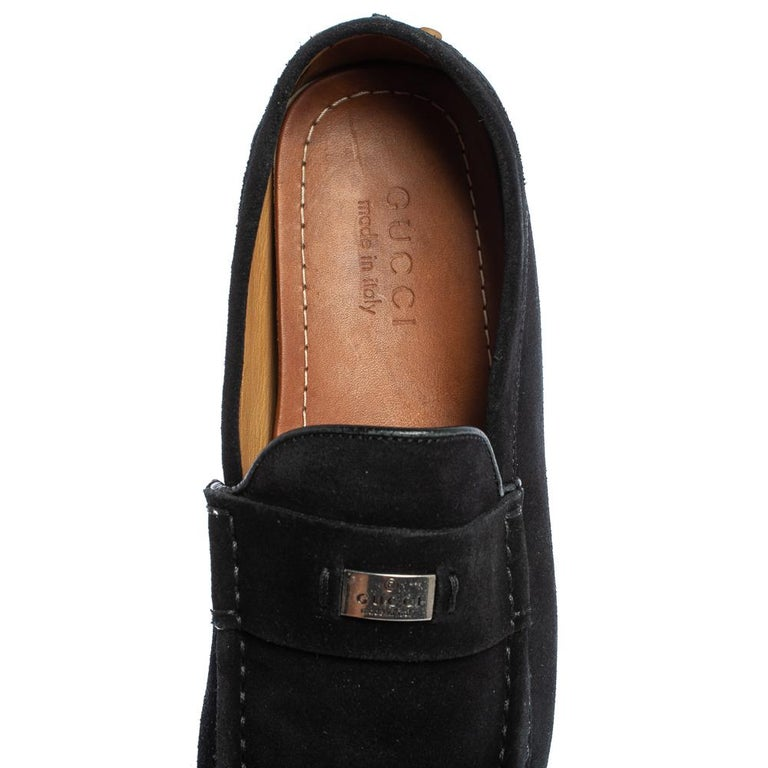 Gucci Black Suede Slip on Loafers Size 41.5 For Sale 2