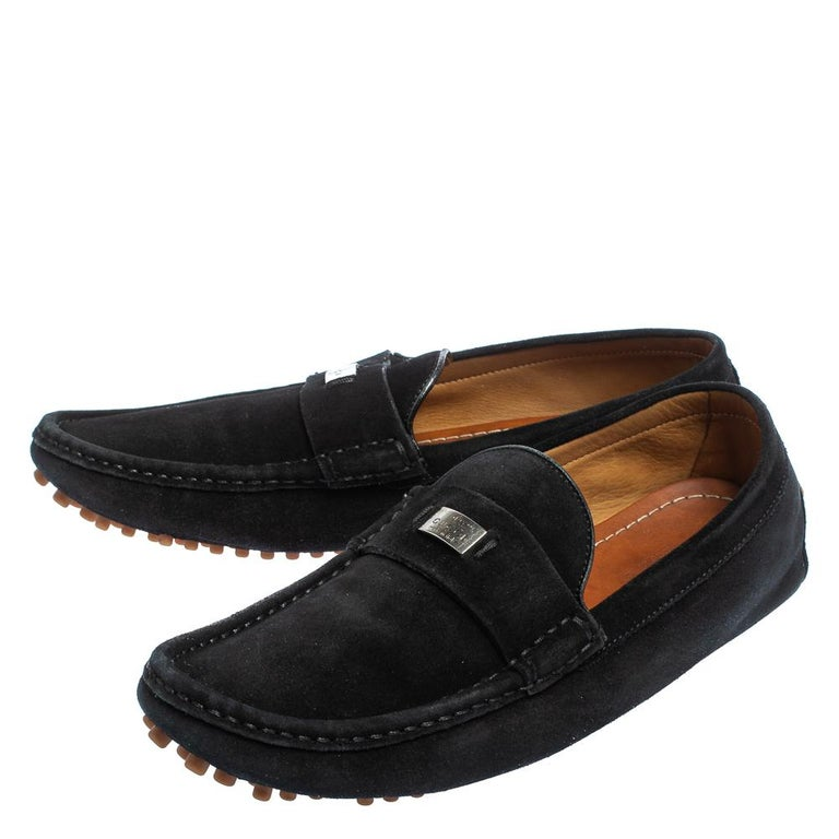 Gucci Black Suede Slip on Loafers Size 41.5 For Sale 3