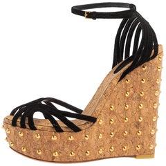 Gucci Black Suede Studded Cork Ankle Strap Wedge Platform Sandals Size 37.5