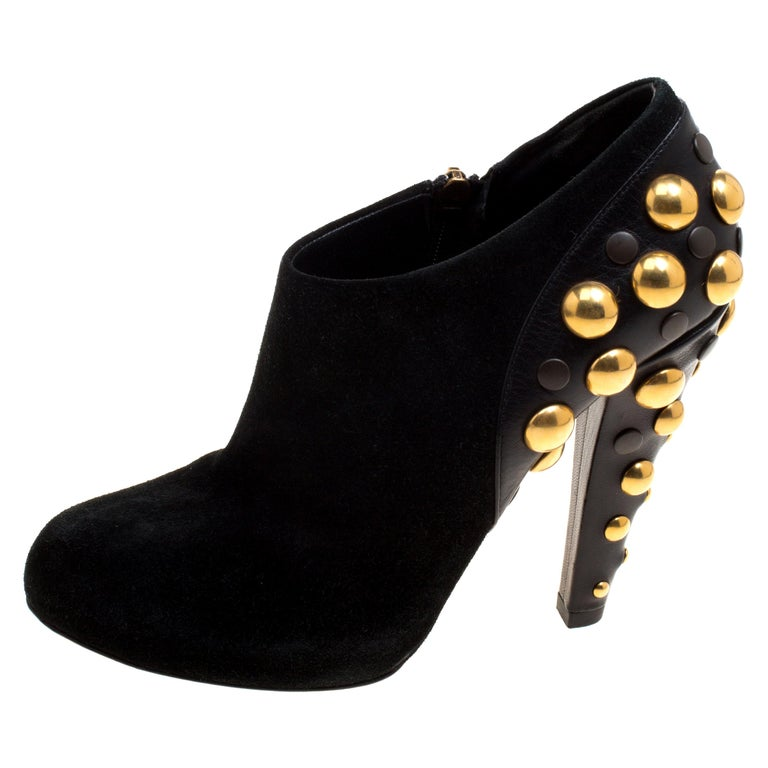 Gucci Black Suede Vintage Babouska Studded Heel Ankle Boots Size 37.5 For Sale