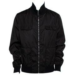 Gucci Black Synthetic Pocket Detail Zip Front Jacket XXL