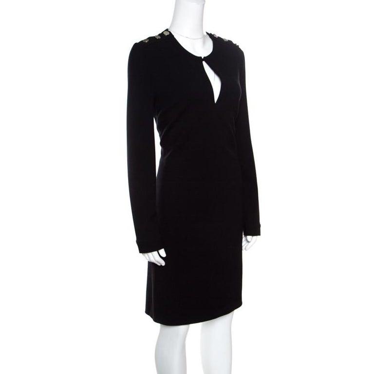 Gucci Black Textured Shoulder Button Detail Long Sleeve Shift Dress M In Good Condition In Dubai, Al Qouz 2