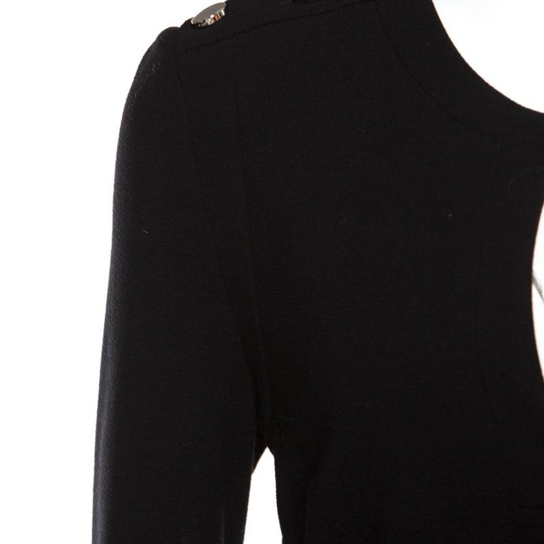Women's Gucci Black Textured Shoulder Button Detail Long Sleeve Shift Dress M