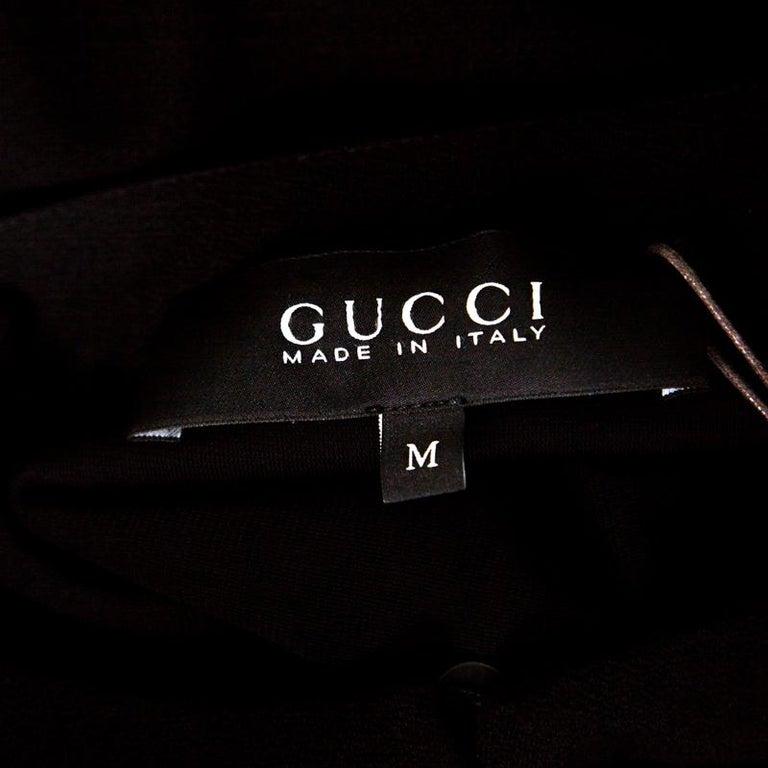 Gucci Black Textured Shoulder Button Detail Long Sleeve Shift Dress M 1