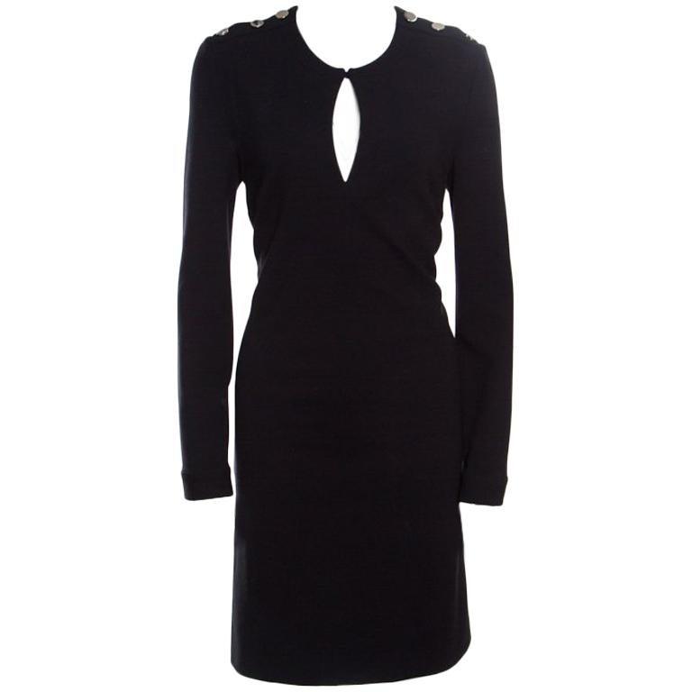 Gucci Black Textured Shoulder Button Detail Long Sleeve Shift Dress