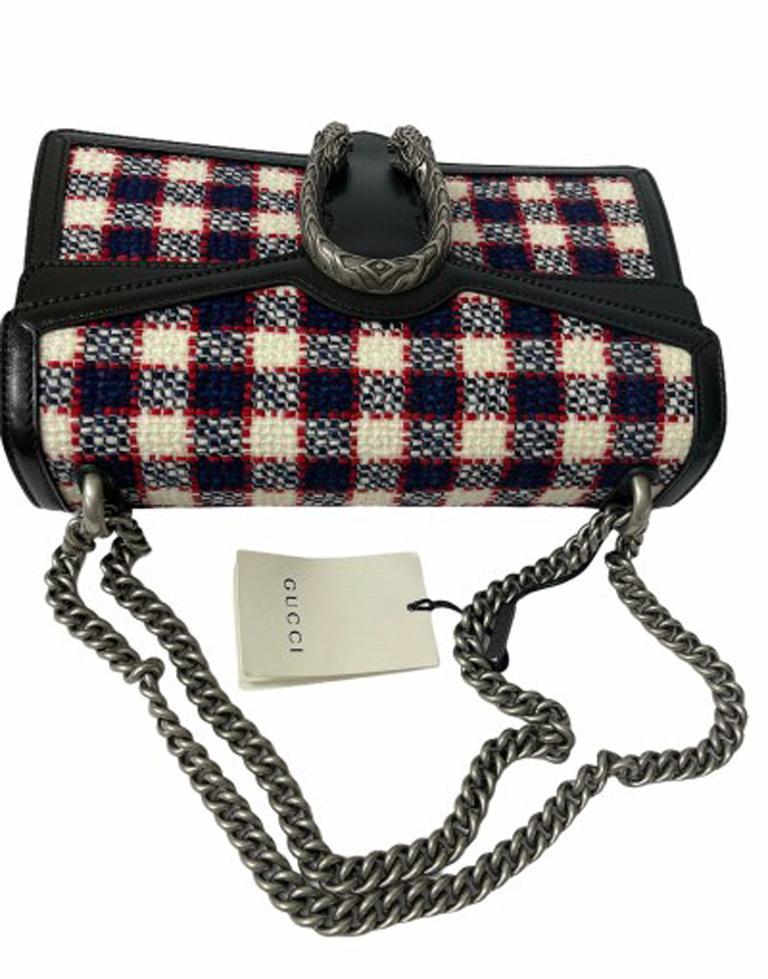 Gucci Black Tweed Dionysus Shoulder Bag  For Sale 4