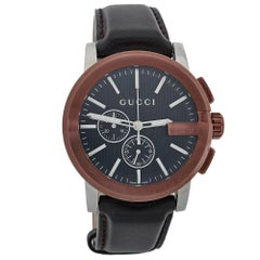Gucci Black TwoTone Stainless Steel Leather G-Chrono 101.2 Men's Wristwatch 44mm