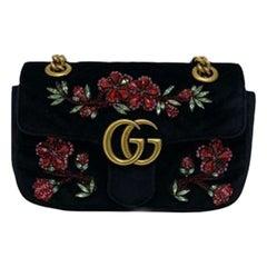 Gucci Black Velvet Mamont Crystal 22cm Shoulder Bag