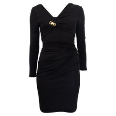 GUCCI black viscose DRAPED 3/4 Sleeve Bodycon Dress XS