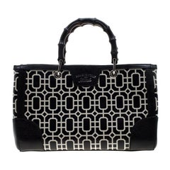 Gucci Black/White Leather Bamboo Top Handle Shopper Tote