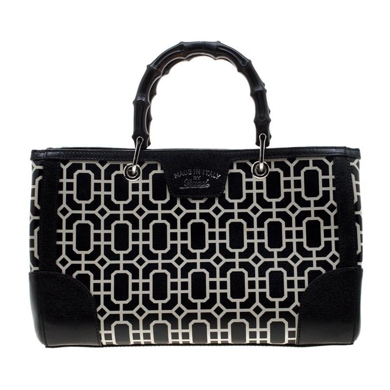 Gucci Black/White Leather Bamboo Top Handle Shopper Tote For Sale