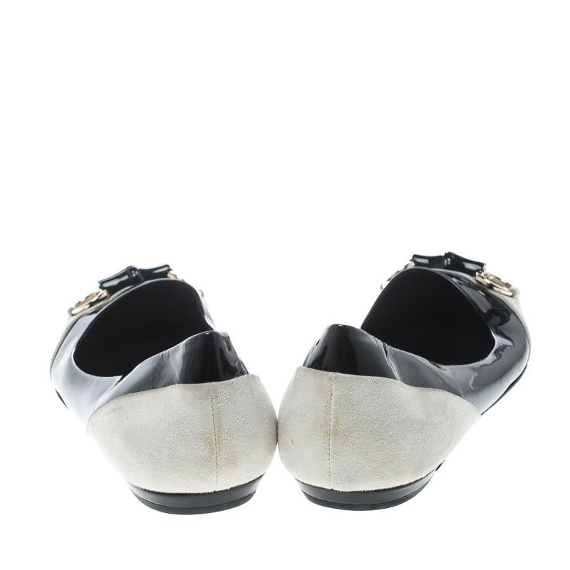 6598d407e72 Gucci Black White Patent Leather and Suede Bamboo Horsebit Ballet Flats  Size 38 For Sale at 1stdibs
