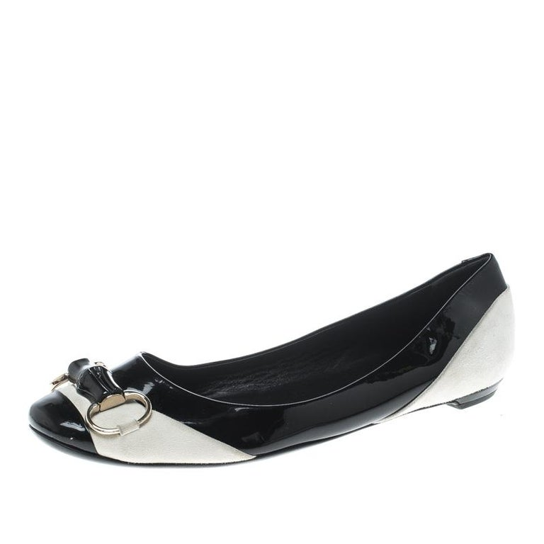 83a51c98613 Gucci Black White Patent Leather and Suede Bamboo Horsebit Ballet Flats  Size 38 For Sale