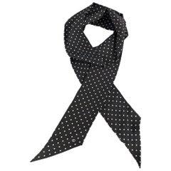 GUCCI Black & White Polka Dot Silk Twilly Neck Tie Scarf