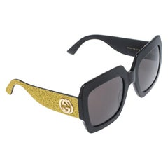 Gucci Black with Glitter / Grey GG GG0102S Oversized Square Sunglasses