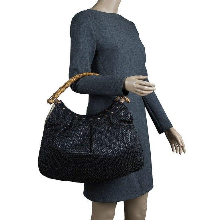 Gucci Black Woven Leather Bamboo Hobo In Good Condition For Sale In Dubai, Al Qouz 2