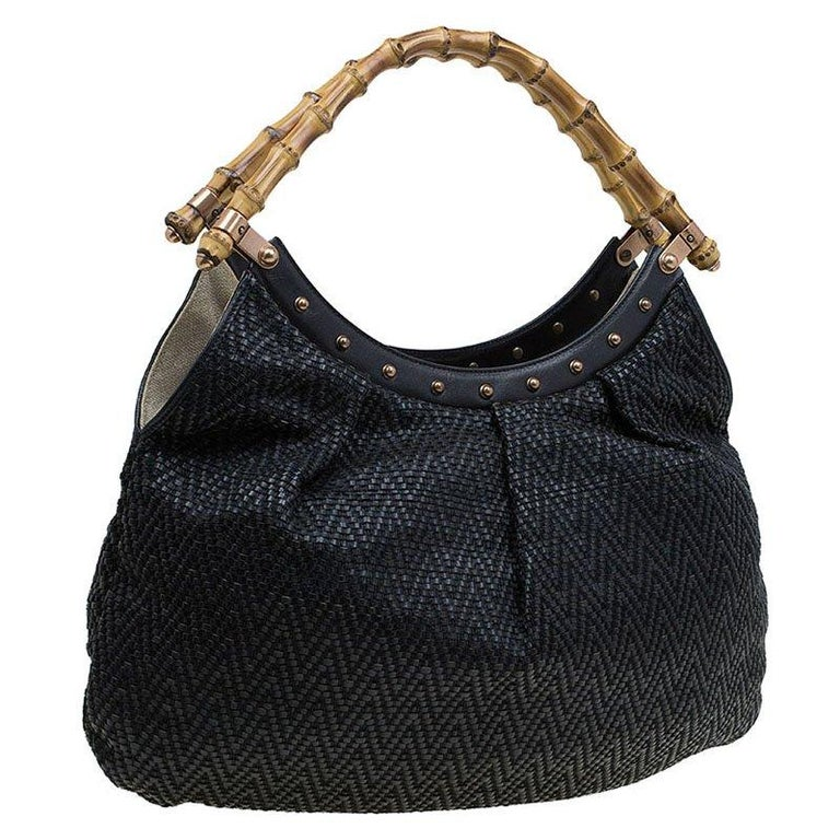 Women's Gucci Black Woven Leather Bamboo Hobo For Sale