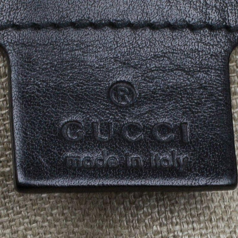 Gucci Black Woven Leather Bamboo Hobo For Sale 2