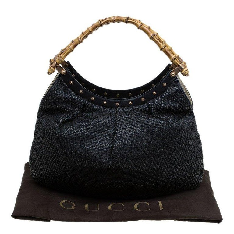 Gucci Black Woven Leather Bamboo Hobo For Sale 5