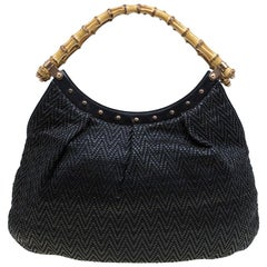 Gucci Black Woven Leather Bamboo Hobo
