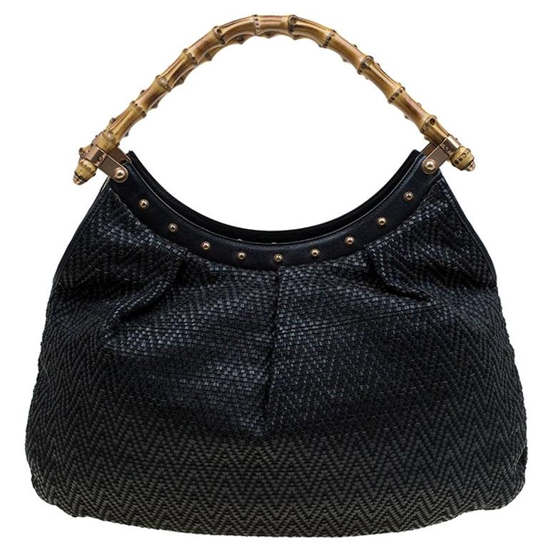 Gucci Black Woven Leather Bamboo Hobo For Sale