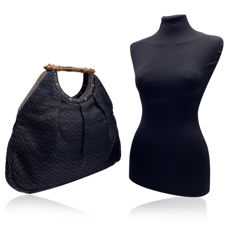 Gucci Black Woven Leather Bamboo Studded Tote Bag Handbag In Excellent Condition For Sale In Rome, Rome