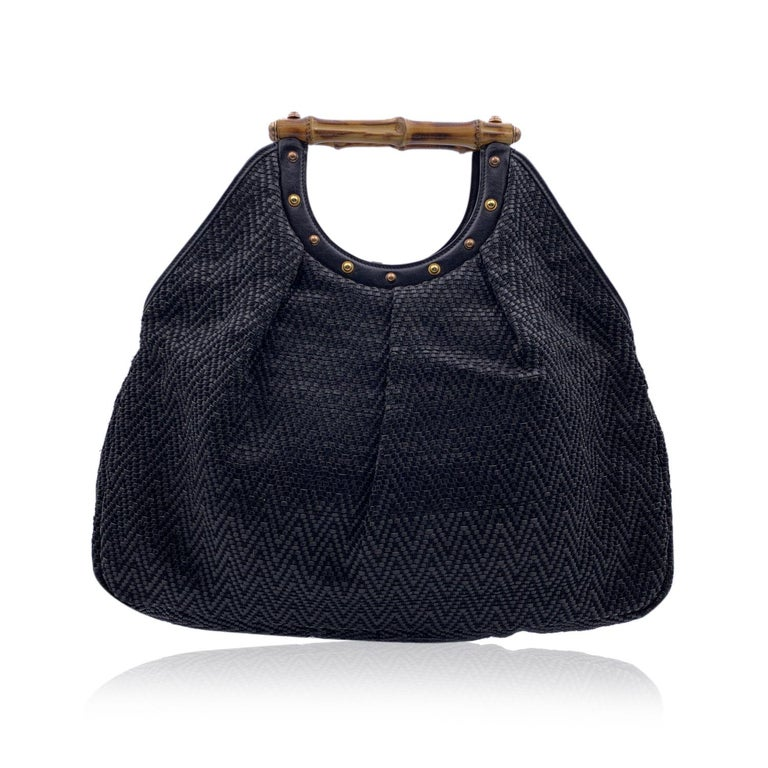 Women's Gucci Black Woven Leather Bamboo Studded Tote Bag Handbag For Sale