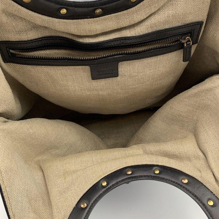 Gucci Black Woven Leather Bamboo Studded Tote Bag Handbag For Sale 2