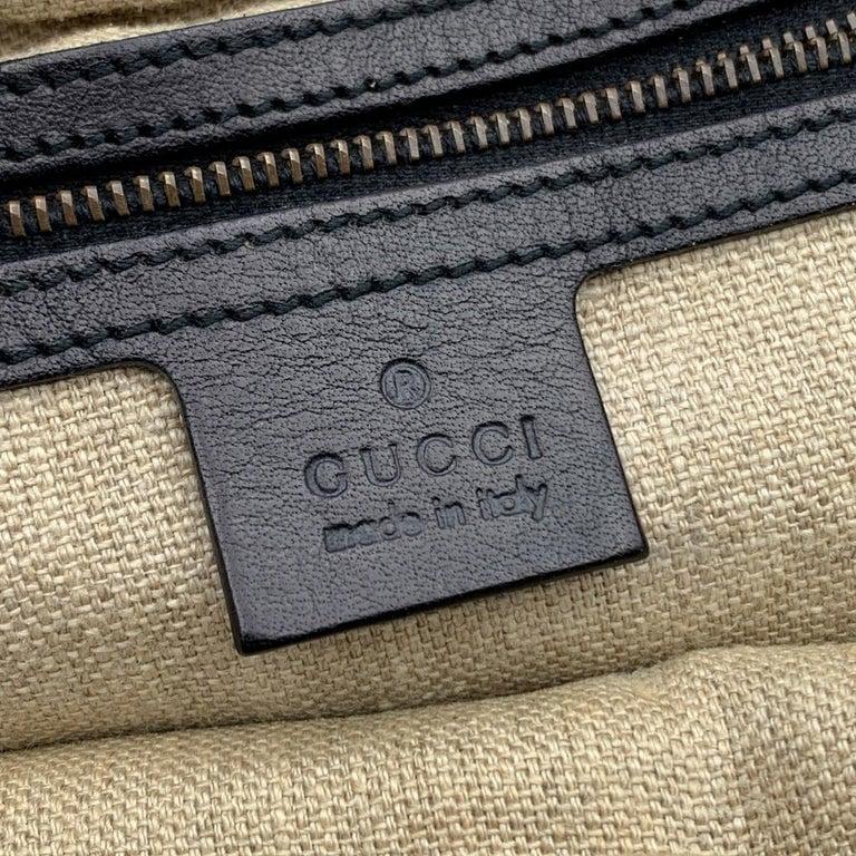 Gucci Black Woven Leather Bamboo Studded Tote Bag Handbag For Sale 3