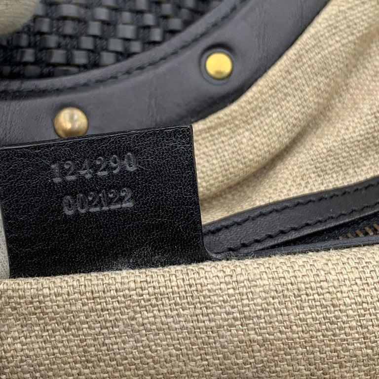 Gucci Black Woven Leather Bamboo Studded Tote Bag Handbag For Sale 4