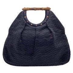 Gucci Black Woven Leather Bamboo Studded Tote Bag Handbag