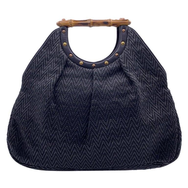 Gucci Black Woven Leather Bamboo Studded Tote Bag Handbag For Sale