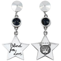 Gucci Blind for Love Sterling Silver and Black Spinel Earrings