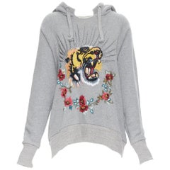 GUCCI Blind For Love Tiger sequins floral embroidered distressed hoodie S