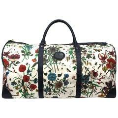 Gucci Blu Suede Flora Duffel Bag