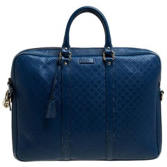 Gucci Blue Bright Diamante Leather Medium Briefcase