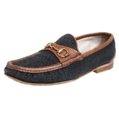 Gucci Blue/Brown Canvas And Leather 1955 Horsebit Slip On Loafers Size 43