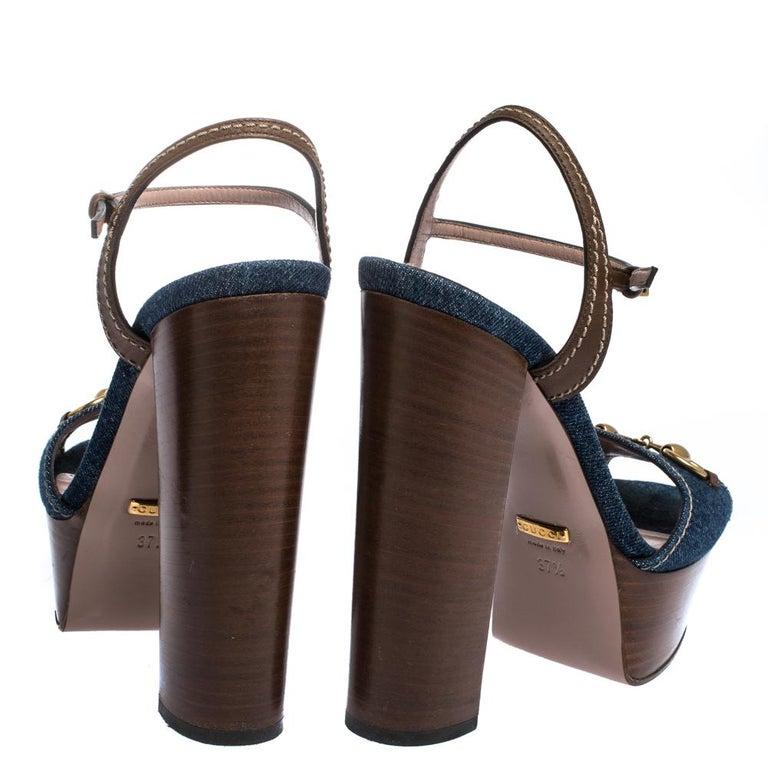 Women's Gucci Blue/Brown Denim and Leather Claudia Horsebit Platform Sandals Size 37.5 For Sale
