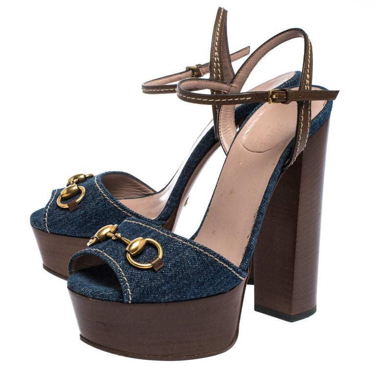 Gucci Blue/Brown Denim and Leather Claudia Horsebit Platform Sandals Size 37.5 For Sale 3
