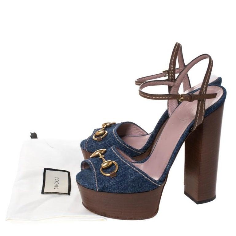 Gucci Blue/Brown Denim and Leather Claudia Horsebit Platform Sandals Size 37.5 For Sale 4