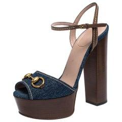 Gucci Blue/Brown Denim and Leather Claudia Horsebit Platform Sandals Size 37.5