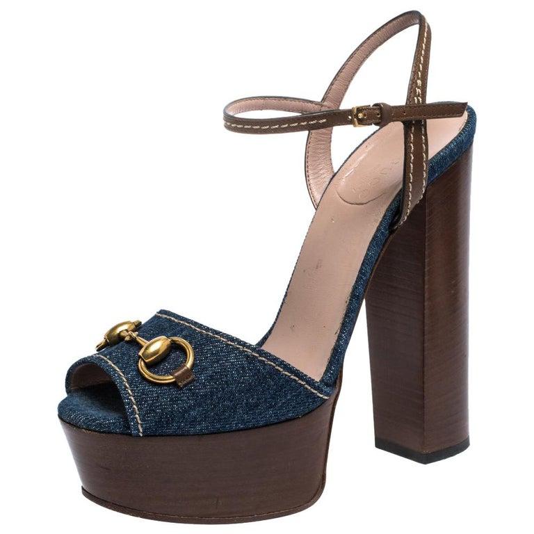Gucci Blue/Brown Denim and Leather Claudia Horsebit Platform Sandals Size 37.5 For Sale