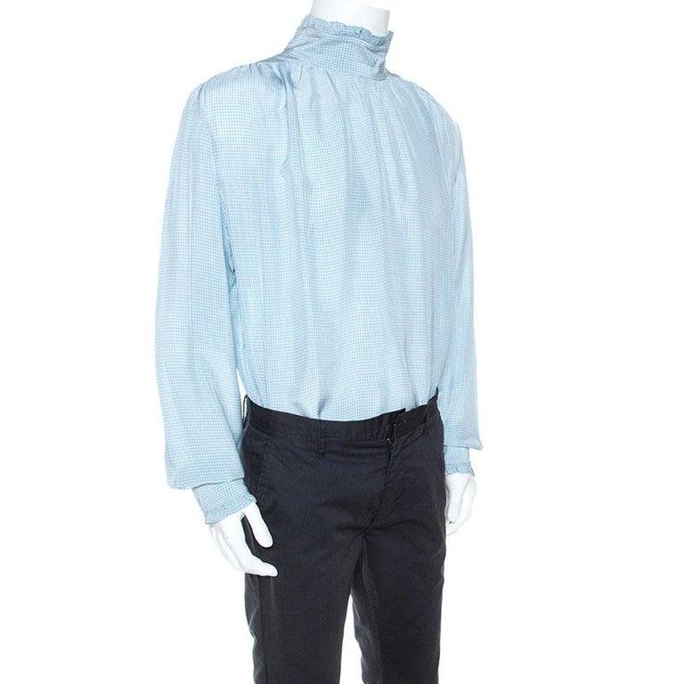 Gucci Blue Checked Crepe Ruffle Trim Shirt XXL In Good Condition For Sale In Dubai, Al Qouz 2